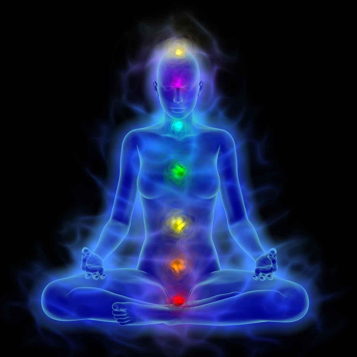 Human energy body aura chakra in meditation